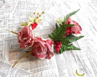 Wreath of flowers - Crown hair clips Chaplet