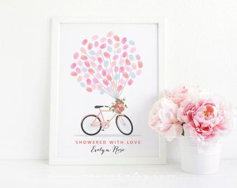 Bicycle Thumbprint guestbook - Bridal shower Fingerprint guestbook - Birthday gift - Baby shower - Teacher appreciation gift printable - DIY