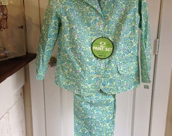 60's turquoise paisley pantsuit , NOS