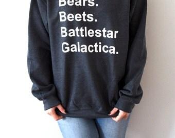 Bears Beets Battlestar Galactica Sweatshirt Unisex The Office tv show slogan women top cute womens gift to her, teen jumper, dwight Schrute