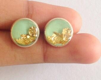 mint earrings, mint flakes earring, gold flakes earrings, gold stud earring, mint stud earring, mint round earring, round studs, 10 mm studs