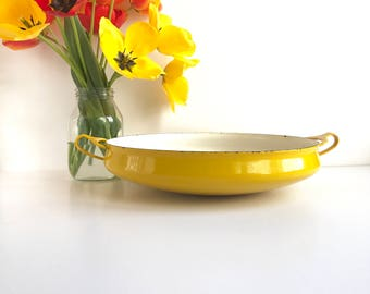 "Vintage Dansk Kobenstyle Large 13"" Yellow Paella Pan Made in France"