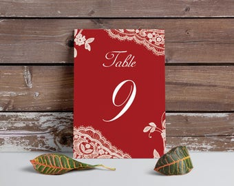 Red Table Numbers, Elegant Lace table numbers, Printable table cards, red wedding, Digital file, wedding table number, red table numbers