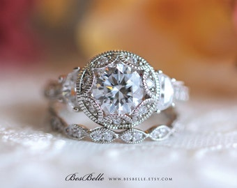 Art Deco Bridal Set Ring-Brilliant Cut Diamond Simulants-Art Deco Engagement Ring-Wedding Ring-Promise Ring-Solid Sterling Silver [61971-2]