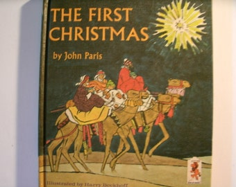 The First Christmas, John Paris, Step Up Book, Vintage 1970s Children's Book, Religious Book, 1970