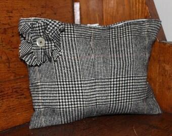 Small black & white Camel's Hair Glen Plaid bag