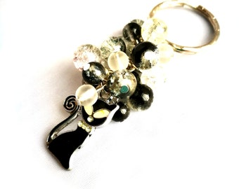 Cat Beaded Keyring, Black & Clear Key Chain, Bag Accessory, Gift for Her, Cat Lover