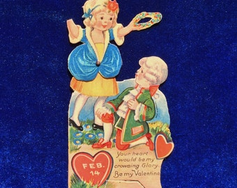 1920's Colonial Powdered Wig Children Valentine Made in Germany