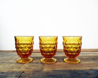 SALE*** Set of 3 matching Amber Colony Whitehall Juice glasses for a Mad Men inspired kitchen - cubist / geometric glasses for a Retro Bar.