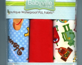 """Babyville Boutique 3 Pieces 21"""" x 24"""" each Waterproof PUL Fabric Pack Cowboy, Red and Robot Print Prym Consumer USA"""