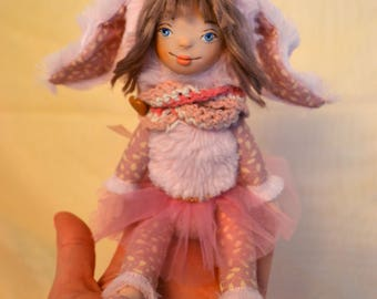 Little art doll, bunny rabbit girl, moveable doll, little girl, home decor, gift fot daughter, unique gift, ooak art doll, clay doll