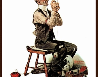 Threading a Needle Post Cover painted by Norman Rockwell 1922. The page is approx. 11 1/2 inches wide and 15 inches tall.