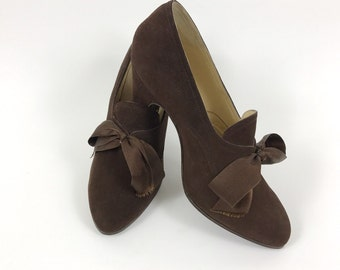 Vintage deadstock 1930s 1940s brown suede lace up shoes - size 35