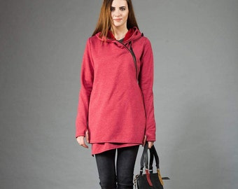 Women's Hoodie, Warm Hoodie, Cotton Coat, Asymmetrical Front Zipper, Hooded Coat, Handmade,  Hoodie,Clothes Navaho
