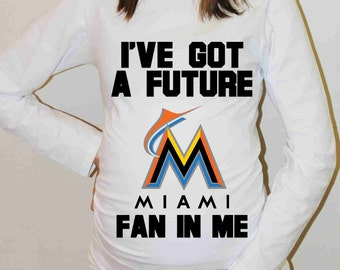 Miami Marlins Shirt Miami Marlins Baseball Long Sleeve Maternity Shirt Pregnancy Baby Shower