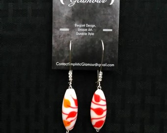 Orange and White Leaf Drop Earrings