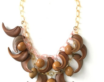 Vintage Celluloid Wood Plastic Nuts and Leaves Necklace
