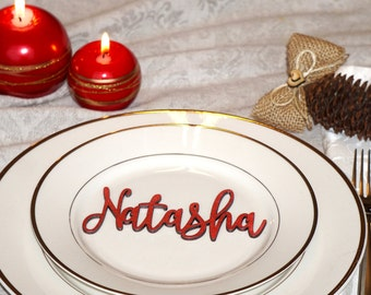 Red Christmas table decor custom Christmas table decoration Red Christmas place cards laser cut names CUSTOM Christmas Place Cards