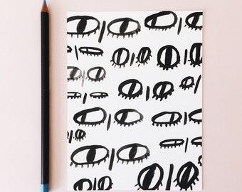 eye print // art print, eyes, hand drawn art, illustration art print, illustration, simple illustration, minimal art, black and white