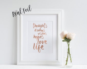 Foil print, Real foil, Art print, Inspirational print, quote print, wall art, home decor, inspirational quote, pretty wall art, gift idea