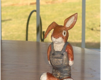 Hand Wood Carved Peter Cottontail Bunny Rabbit
