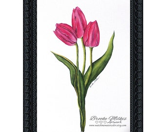 Tulip Painting, Floral Art Print, Floral Home Decor, Watercolor Flowers, Girly Home Decor, Watercolor Flower, Pink Flower Decor, Tulip Print