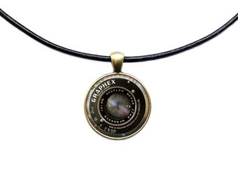 Camera lens pendant Vintage necklace Photographer jewelry