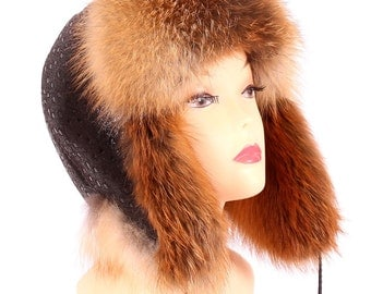 Women's hat earflaps fox, red.