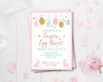 Easter Egg Hunt Invitation, Gold Egg Hunt, Pink, Blue and Gold Easter Invite, Easter Bunny Invitation, Printable Bunny Invitation