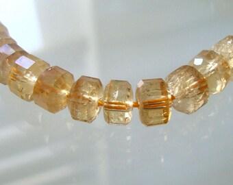 10 beads, 7x5mm, Golden Honey Genuine Citrine Faceted Flat Rondelles, November Birthstone - B-0037