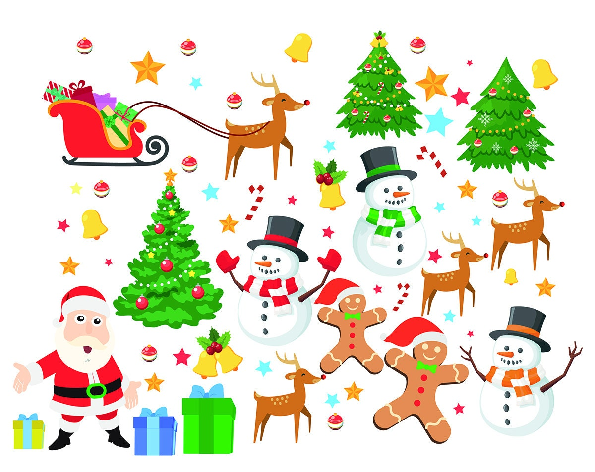christmas elements digital clipart santa claus clip art. Black Bedroom Furniture Sets. Home Design Ideas