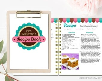 Superb Personalized Recipe Book Template, Editable Recipe Pages And Cover,  Printable Cookbook, Recipe Binder