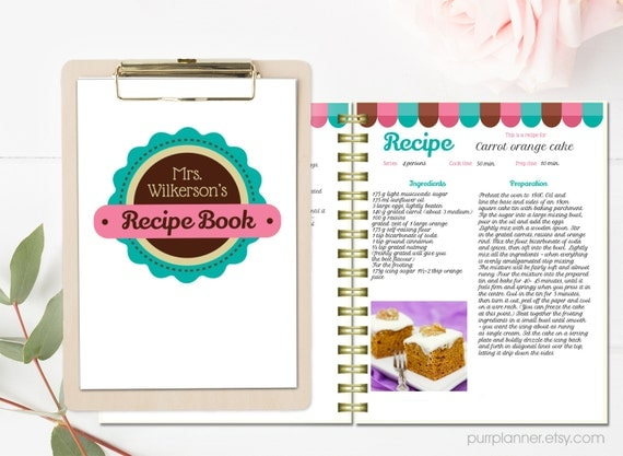 Personalized Recipe Book Template Editable Recipe Pages And Cover
