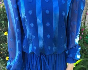 Vintage Blue Dot Striped Dress Size 10 S M S/M 1970s 70s 1980s 80s