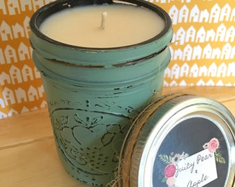 CLEARANCE! Juicy Pear & Apple Painted Jar Soy Candle
