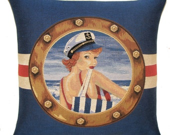 red haired pinup girl tapestry gobelin throw pillow beach cushion cover blue red nautical - PC-5625