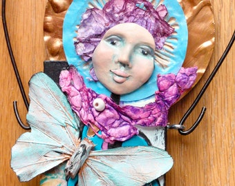 Mixed Media Art Doll - Spirit Doll - Abstract Collage  Doll - Assemblage Doll - MOON FLY