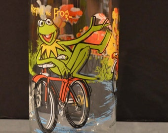 1980's The Great Muppet Caper McDonalds Glass-Kermit on Bicycle