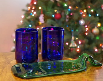 WHITE ELEPHANT SPECIAL- 2 Wine Bottle Tumblers and Slumped Bottle Cheese Tray