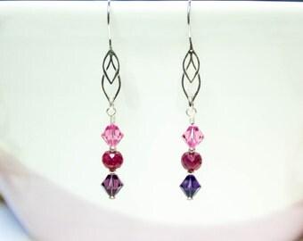 Ruby earrings, ruby drop earrings, gemstone earring, sterling silver earring, precious gemstone earrings, July birthstone, Swarovski crystal