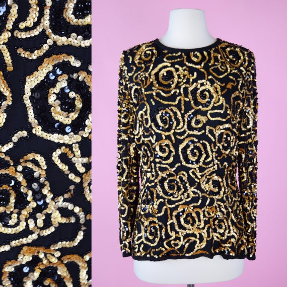 90s Vintage, Black & Gold, Sequin Shirt // 1980s, Party Top, 1990s, Blouse, Womans Size Small, Medium