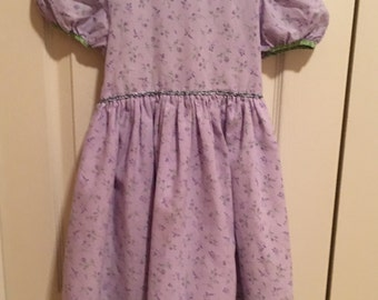 Vintage Girls Dress Size 5, Mousefeathers Vintage Dress, Size 5, Girls Purple Dress, Girls Floral Dress, Girls Vintage Clothes, Made In USA