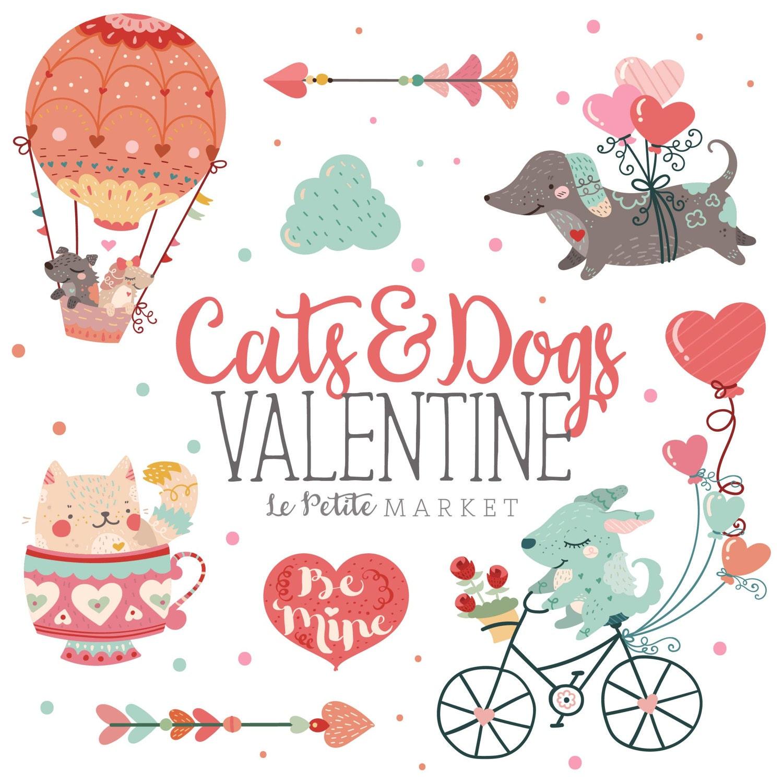 Cute Animal Valentine Clip Art Cat Valentine Clip Art Dog