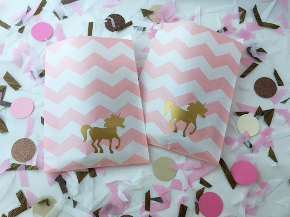 Unicorn pink chevron favor bags