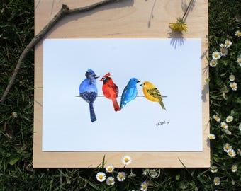 "ORIGINAL watercolor painting 4 BIRDS A4 210 X 297 mm (8,3"" x 11,7"")"