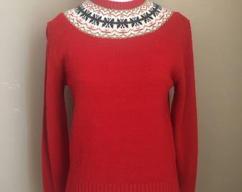 Vintage Alpine Red Ski Knit Sweater by Garland