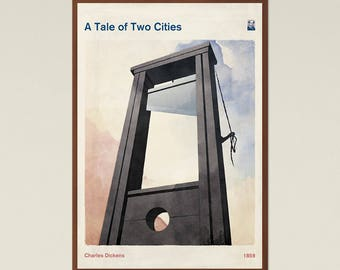 A Tale of Two Cities, Charles Dickens, Book Cover Poster Large, Literary Gift, Classic Literature Print, Modern Home Decor, Instant Download