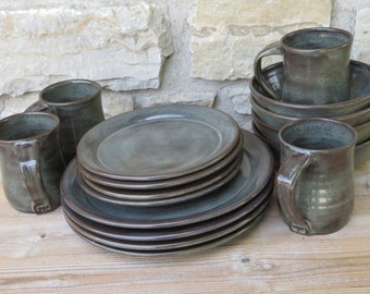 Pottery Dinnerware service for four handmade dishes