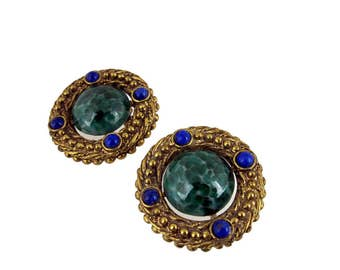 Clip On Earrings Gold Green Stone 1960s