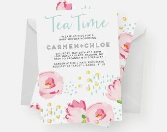 Tea Party Invitation | Tea Party Baby Shower, Tea Party Birthday, Floral Invitation, Modern Floral, Tea Time, Flower Theme, Floral Theme